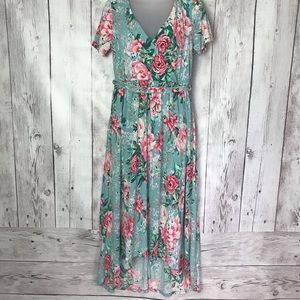 Mint Floral Hi Low Wrap Dress